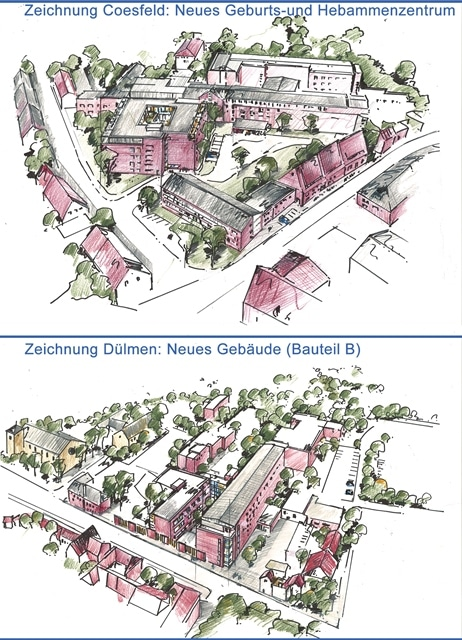 Zeichnung neue Gebäude Klinik Coesfeld und Dülmen