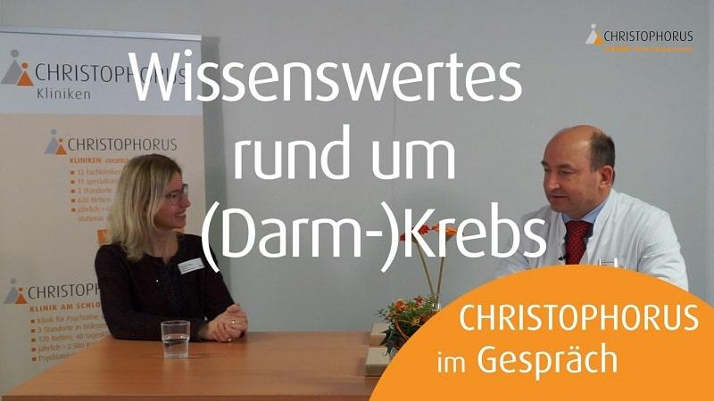 CHRISTOPHORUS im Gespraech Videogespraech zu Darmkrebs im Darmkrebsmonat Maerz